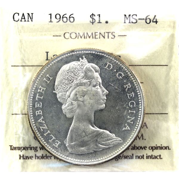 1966 Canada Silver Dollar ICCS Certified MS-64