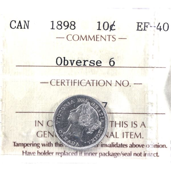 1898 Obverse 6 10-cent ICCS Certified EF-40