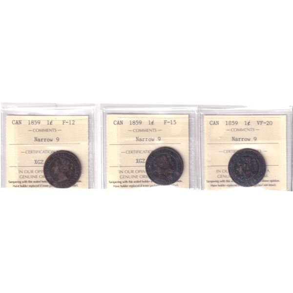 Lot of 3x 1859 Canada 1-cent Narrow 9 ICCS Certified  F12, F15 & VF-20 Condition. 3pcs