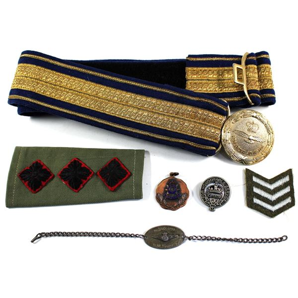Lot of 6x Royal Canadian Air Force dress belt, denim shoulder slip with rank insignia, sleeve servic