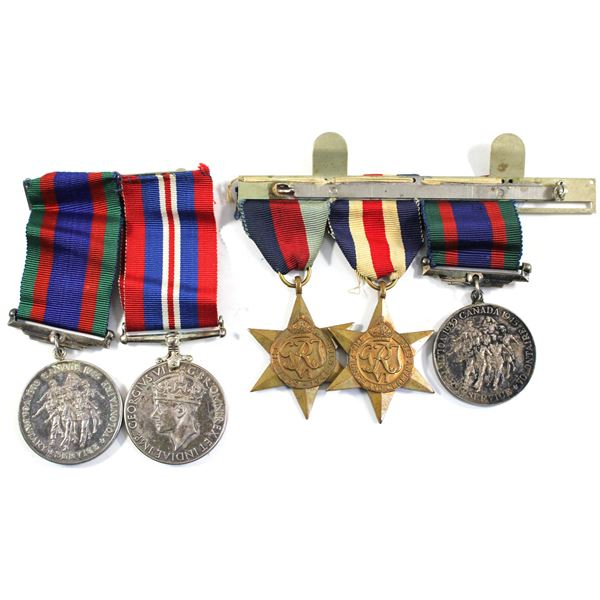 Lot of 5x Canada WWII Medals with original ribbons. Includes 2x 1939-1945 Voluntary Service Medals,