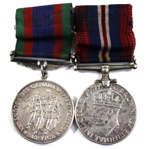 Lot of 2x Canada WWII Medals with original ribbon. Includes: 1939-1945 Voluntary Service Medal and t