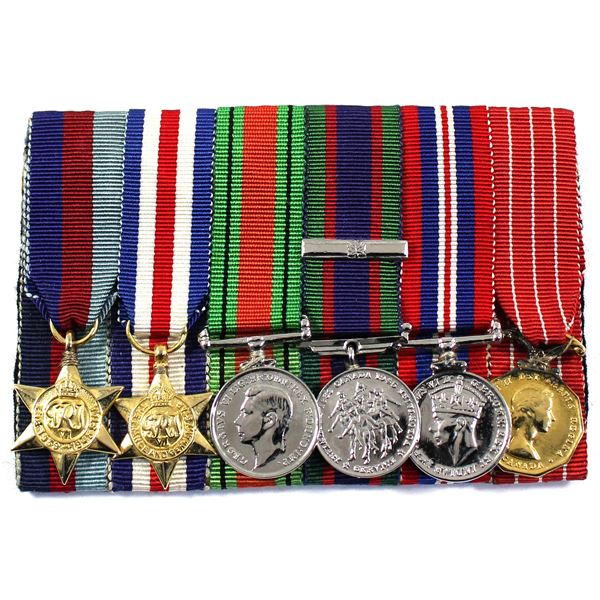 Lot of 6x Canada WWII mini medals with original ribbons. Beautifully mounted! Includes: the 1939-194