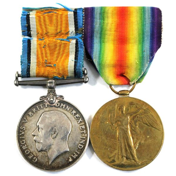 Lot of 2x British WWI War Medals with original ribbons. Includes the 1914-1918 War Medal and the Vic