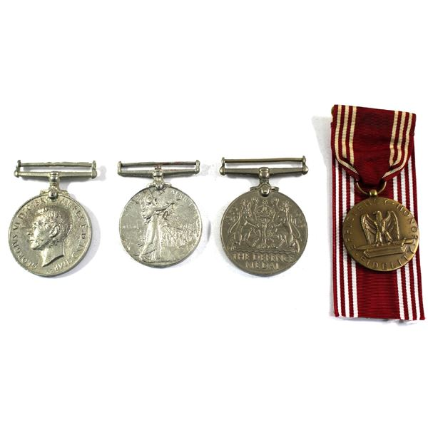 Lot of 4x Military Medals. Includes USA Army Good Conduct Medal with original ribbon, British 1939-1