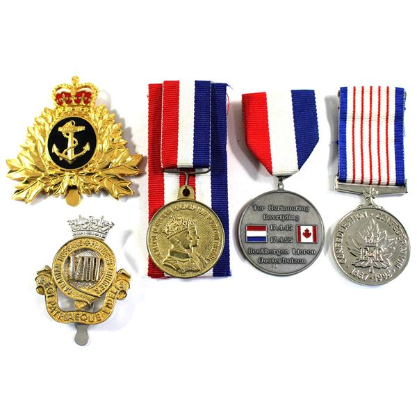 Lot of 5x Medals and Cap Badges. Includes Naval Operations Branch Cap Badge, 8th Canadian Hussars (P