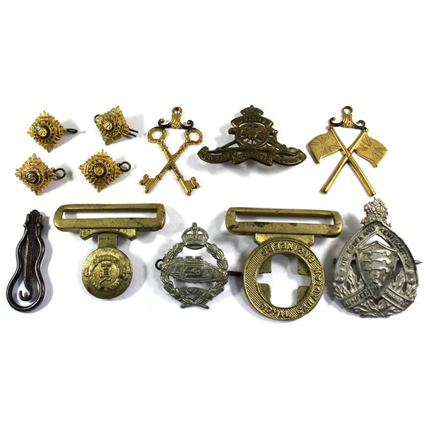 Lot of 11x Assorted Military Badges, Buckles, and Other Ornaments. Including 4x British Army Pips, R