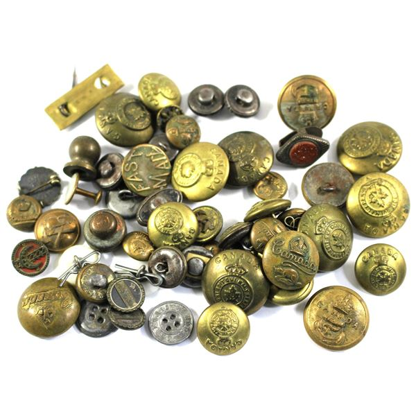 Lot of 48x Assorted Buttons. Including 31x Canadian Armed Forces Brass Buttons, Other Mixed Metal an