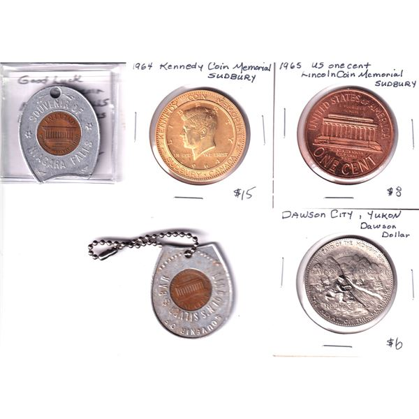 Lot of 5x Large City Specific Tokens. Including Lincoln Penny Haugan MT, Lincoln Penny Niagara Falls