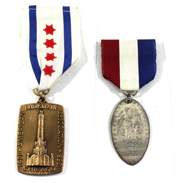 Lot of 2x USA Convention Badges with Original Ribbons. Includes 1966 Diamond Jubilee for the America