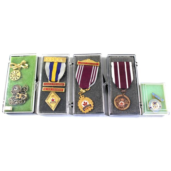 Lot of 6x Canada Legion Medals and Pins. Includes 1926-2001 75 Years of Service Medal with Ribbon, P