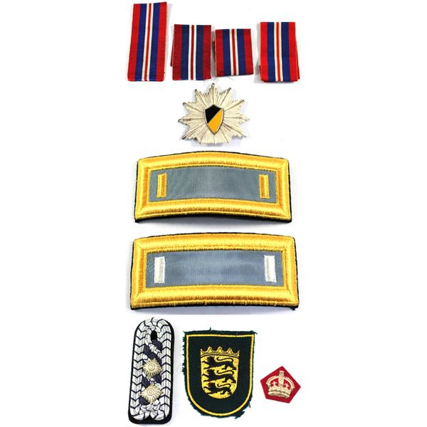 Lot of 7x Military Patches, Badges, and Spare Ribbon. Includes Ribbon for the 1939-1945 War Medal, G