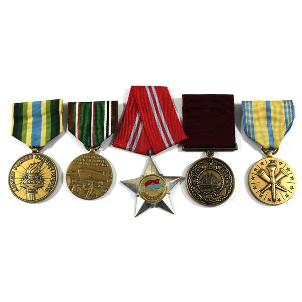 Lot of 5x  Military Medals with Original Ribbons. Includes US Service Medal, US European African Mid