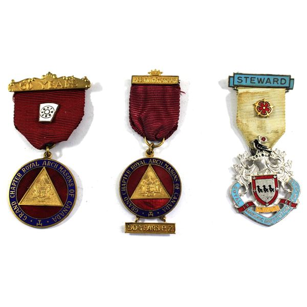 """Lot of 3x Masonic Medals. Including Grand Chapter Royal Arch Masons of Canada 50 Years inscribed """"ve"""