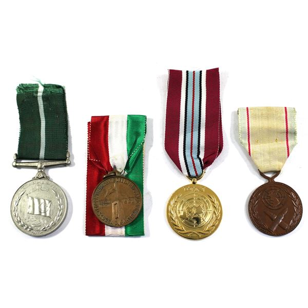 Lot of 4x International Medals. Includes Pakistan War Medal, 1960 Italy President of the Republic Cu
