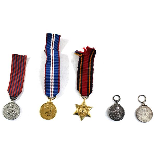 Lot of 5x Mini Military Medals. Includes 2x Jubilee Medal, Burma Star Medal with Ribbon, 50 Year Med