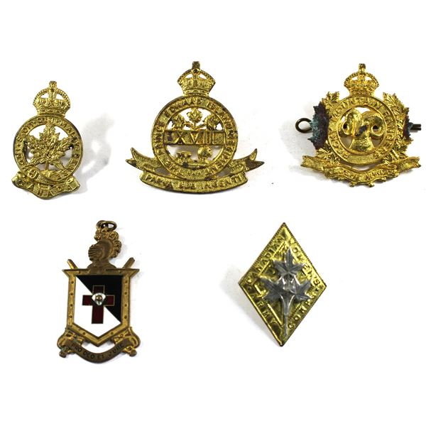 Lot of 5x Badges and Pins. Including Masonic Knights Templar Pin, Canadian Women's Army Corps Badge,