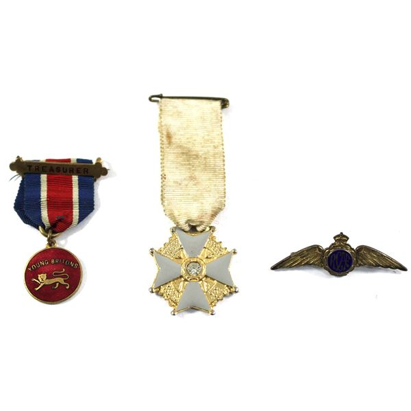 Lot of 3x Assorted Pins and Medals. Includes RCAF Wings Pin, Grey Enamel Cross White Ribbon Medal, a