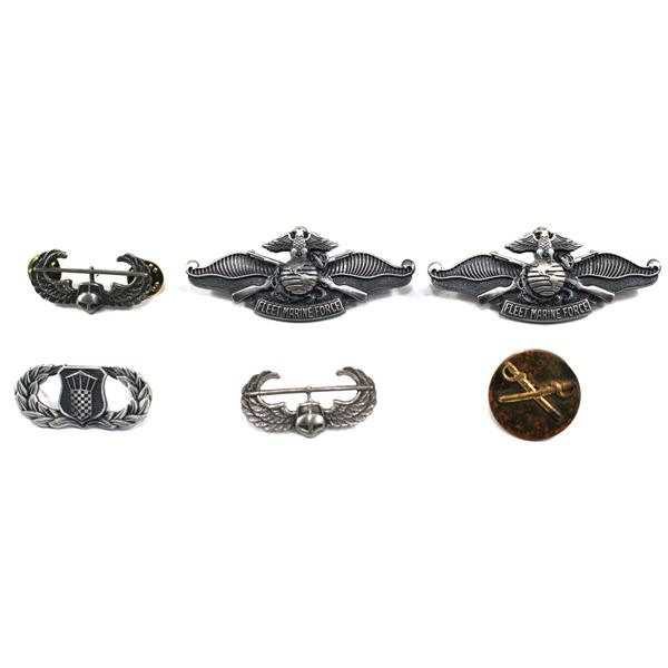 Lot of 6x Military Pins. Includes 2x Fleet Marine Force Pins, 2x Air Assault Pins, Tower Shield with