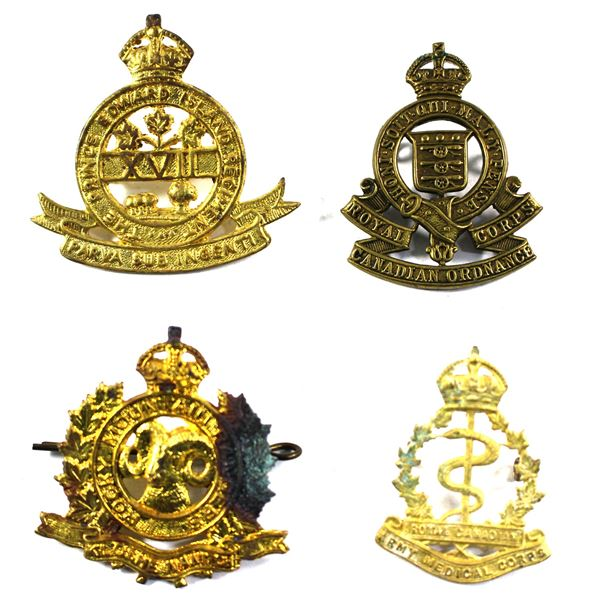 Lot of 4x Canadian Military Badges. Includes Royal Canadian Army Medical Corps Badge (discoloured),