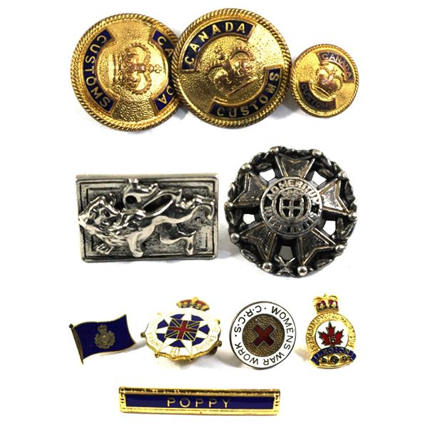 Lot of 10x Buttons and Pins. Including 2x Large Canada Customs and 1x Small Canada Customs Buttons,