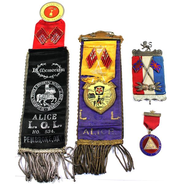 Lot of 4x Ribbons and Awards. Includes two different version of a Royal Scarlet Knights Alive L.O.L.