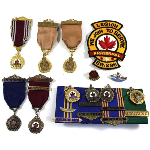 Lot of 12x Royal Canadian Legion Medals, Pins, and Patch. See description for more information. Item