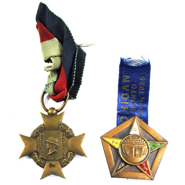 Lot of 2x International Medals. Includes WWII France Voluntary Military Service Medal with ribbon, a