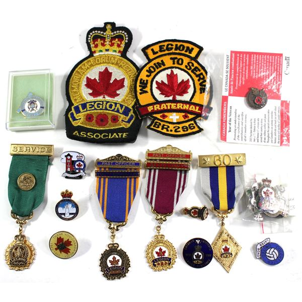 Lot of 19x Royal Canadian Legion Medals, Patches, and Pins. Please see description for more informat