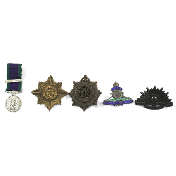 Lot of 5x International Badges. Includes Northern Ireland For Campaign Service Mini Medal, Irish Gua