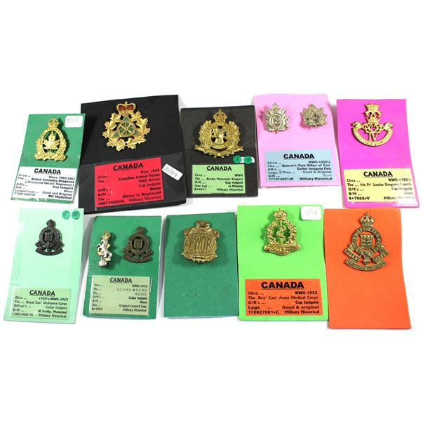 Lot of 12x Canadian Forces Military Badges. Includes Princess Louise Dragoon Guards Badge, Royal Can
