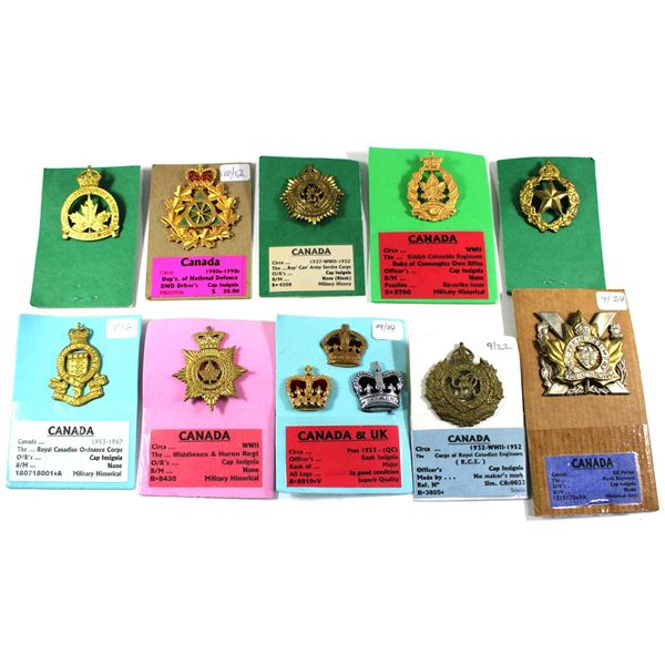 Lot of 12x Canadian Forces Military Badges. Includes Royal Canadian Army Cadets, Civilian Driver, Th