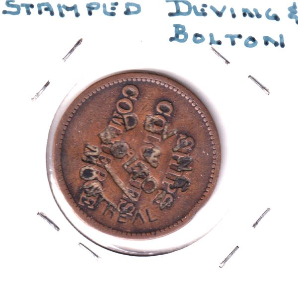 BR #569a Devins & Bolton Montreal Struck on BR #997 N.D. PEI Ships Colonies Commerce Token