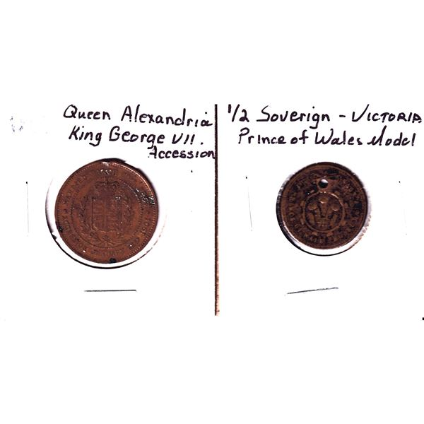 Lot of 2x Tokens. Includes N.D. 1/2 Sovereign Victoria Prince of Wales Model and 1901 Queen Alexandr