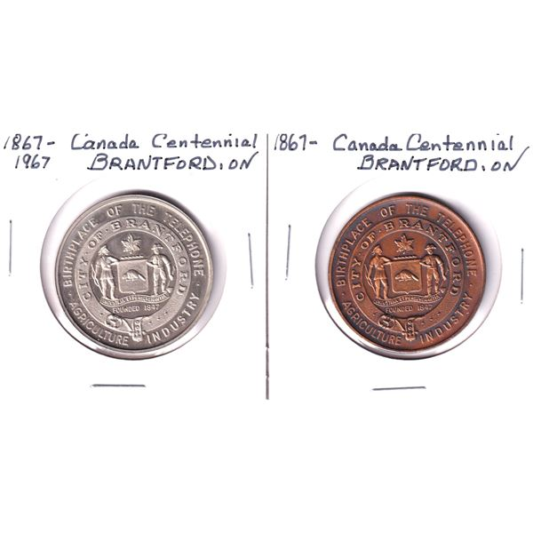 Lot of 2x 1867-1967 Canada Centennial Commemorative Token from Brantford, Ontario. Includes a copper