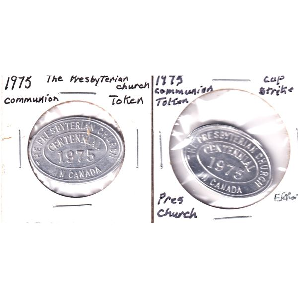 Lot of 2x The Presbyterian Church Centennial in Canada Token. Includes a normal stamped one and one