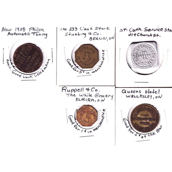 Lot of 5x Vintage Business Tokens. Includes St Catherine's Service Station, Queens Hotel in Wellesle