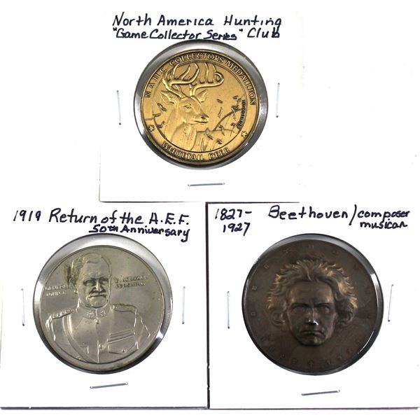 Lot of 3x Commemorative Tokens. Including 1827-1927 Beethoven Composer and Musician, 1919 Return of