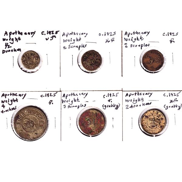 Lot of 6x 1925 Apothecary Weights. Includes 2x 2 Scruples, 1/2 Drachm, 2 Drachm, 3 Drachm, and 4 Dra