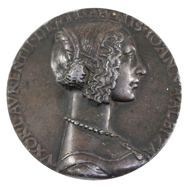 Italy 1468-1488 Giovanna degli Albizzi Tornabuoni Commissioned Medallion by Husband Lorenzo Tornabuo