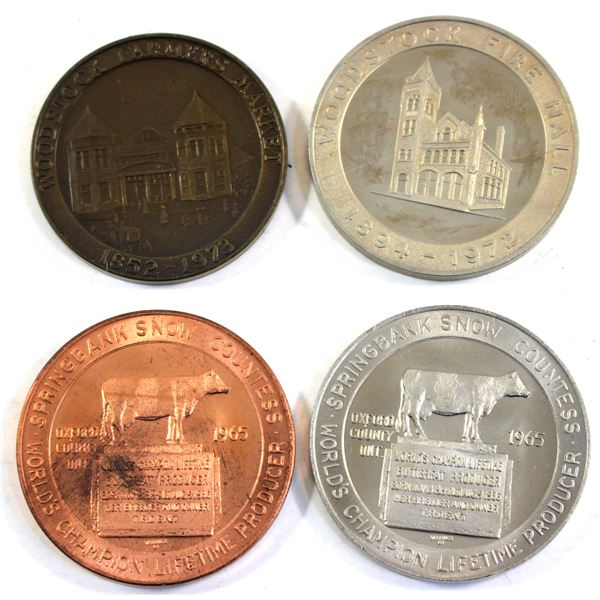 Lot of 4x Woodstock ON Coin Club Tokens. Includes 2x World's Champion Lifetime Butterfat Producer Co