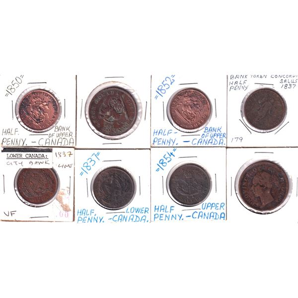 Mixed Estate Lot of Copper Bank Tokens 1800's. 8pcs. Good mixture. Please view the image for detail.