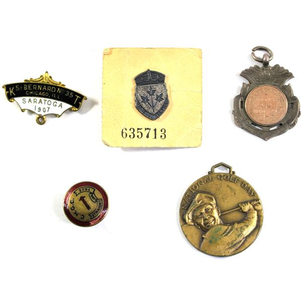 Lot of 5x Assorted Tokens. Including Chicago IL Street Sign Pin, National Golf Day Winning Medallion