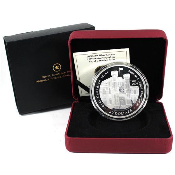 2008 Canada $50 Royal Canadian Mint Centennial 5oz. Fine Silver (No Tax)