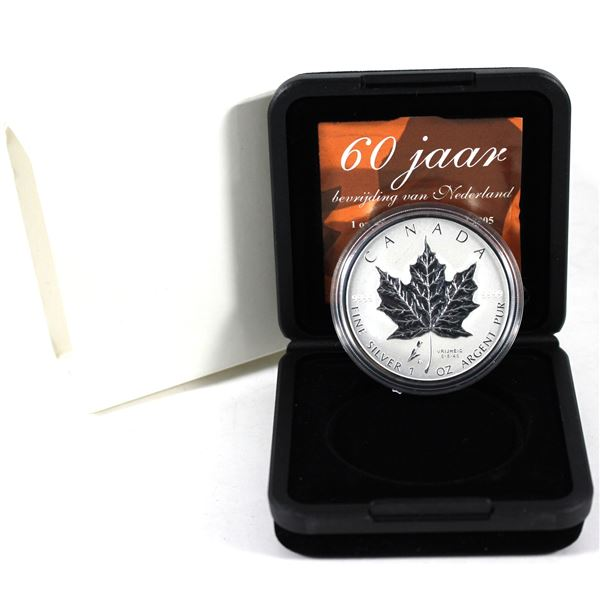 2005 Canada Privy Mark Tulip 1oz. Silver Maple Leaf (Tax Exempt) Scratch on reverse of coin.