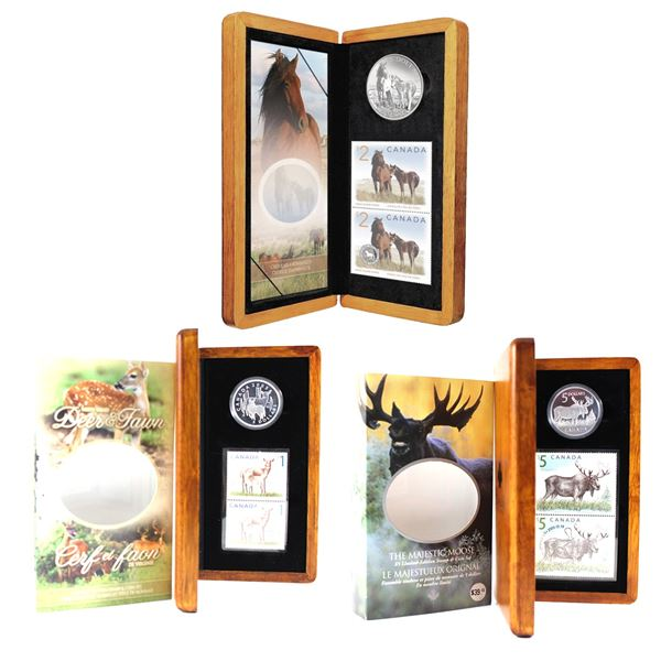 Lot of 3x RCM $5 Fine Silver Coin and Stamp Sets. Includes 2004 Majestic Moose, 2005 Deer and Fawn,