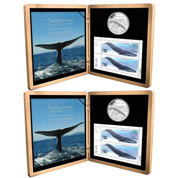 Lot of 2x 2010 Canada $10 Blue Whale Sterling Silver Coin and Stamp Set. One coin is toned, one slee