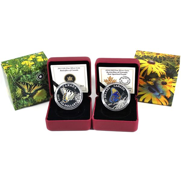 Lot of 2x 2013 & 2014 Canada $20 Butterflies of Canada Fine Silver Coins. Includes Canadian Tiger Sw