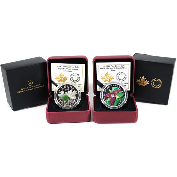 Lot of 2x 2014 Canada $20 Fine Silver Coins with Nature. Includes Majestic Maple Leaves with Jade, a