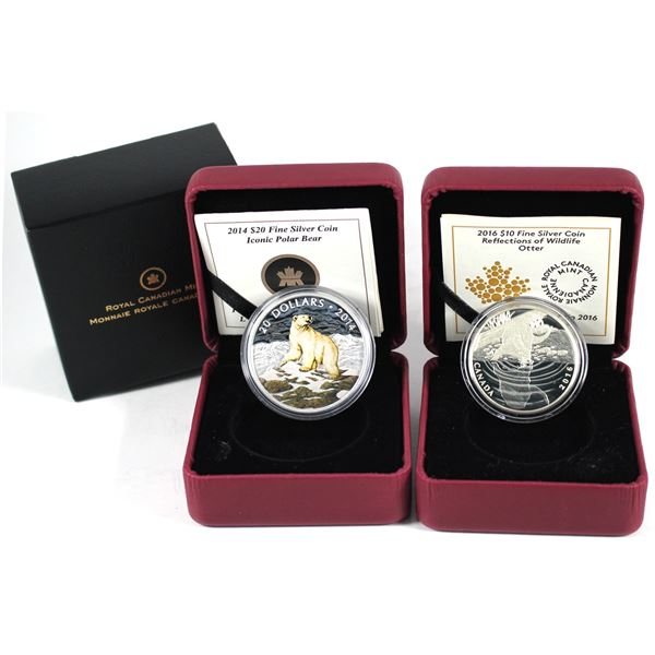 Lot of 2x 2014 & 2016 Canada $10 Fine Silver Coins with Animals. Includes 2014 Iconic Polar Bear, 20
